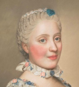 Dauphine Marie-Josephe de Saxe wears heavy French court makeup, Liotard (France), 1751. Wikimedia Commons