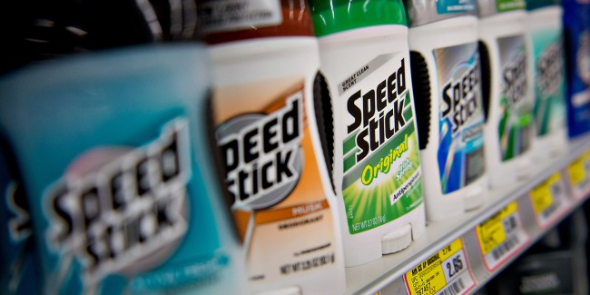 Colgate-Palmolive Co. Speed Stick brand deodorant sits on display in a supermarket in Princeton, Illinois, U.S., on Tuesday, Oct. 23, 2012. Colgate-Palmolive Co., the world's largest toothpaste maker, is scheduled to release quarterly earnings on Oct. 25. Photographer: Daniel Acker/Bloomberg via Getty Images