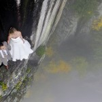 Photographer Shoots Bride And Groom On A Small Ledge 350Ft Above A Valley