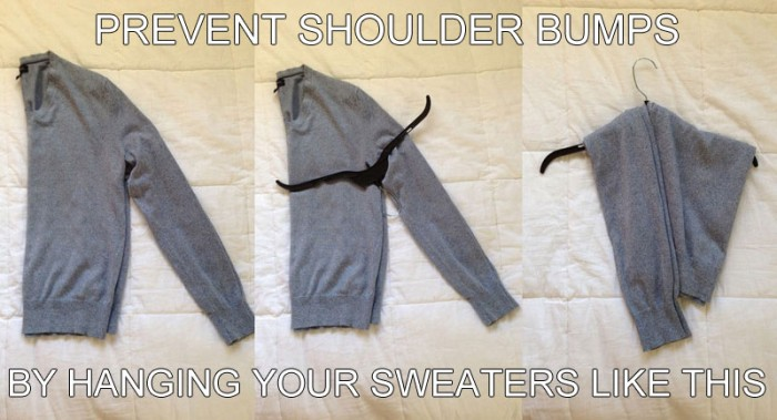 how-to-hang-a-sweater-on-a-hanger-lifehack