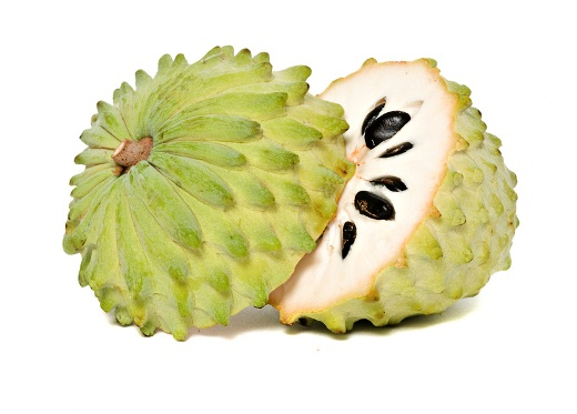 Soursop sections isolated on white background