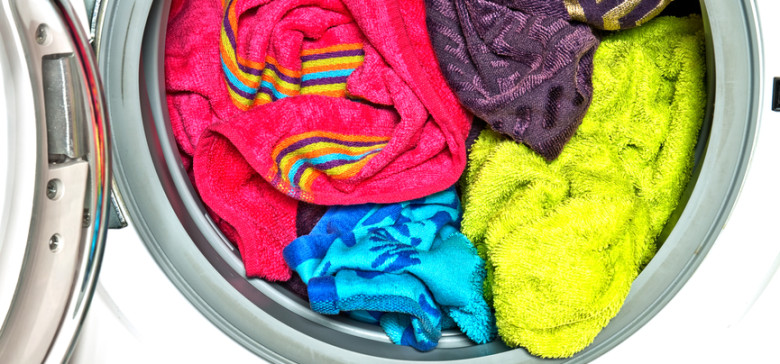 Colored towels in washing machine