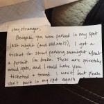 This Woman Left A Note After Someone Stole Her Parking Space. The Response Was Unexpected