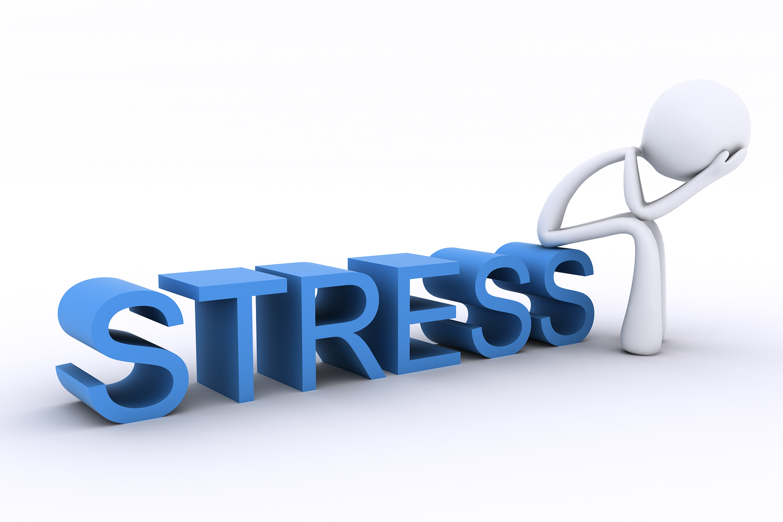 3D render showing a character sitting on a word, with head in hands looking stressed.